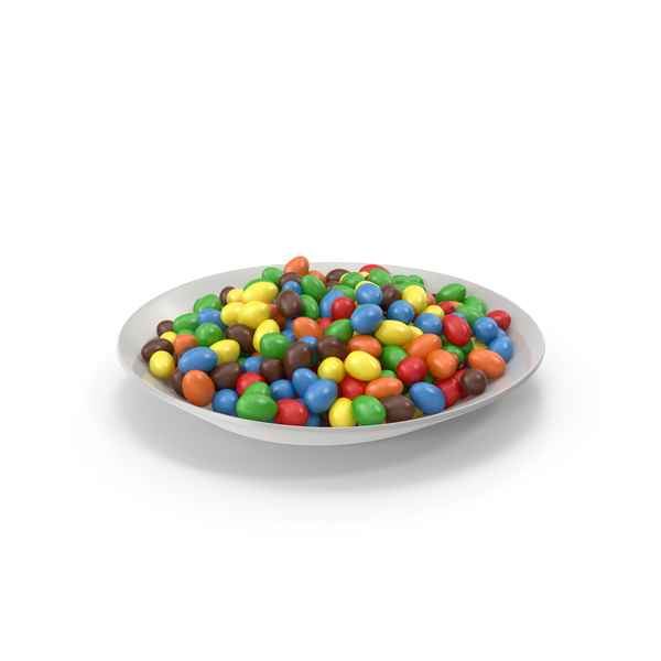 Plate with Candy Coated Chocolate Covered Peanuts PNG & PSD Images