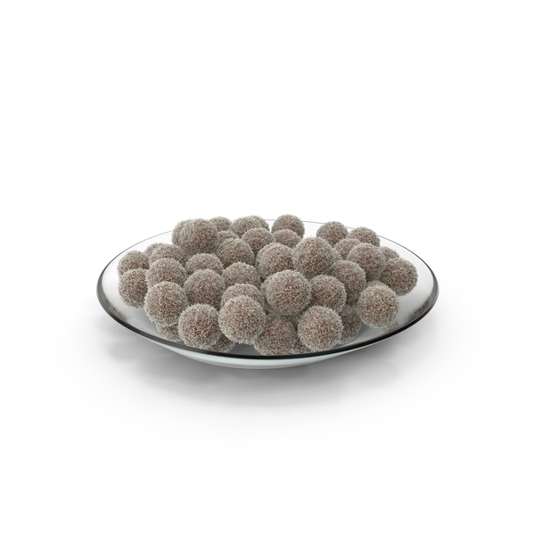 Plate with Chocolate Balls with Coconuts PNG & PSD Images