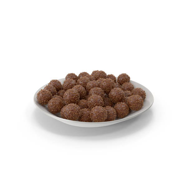 Plate with chocolate balls with nuts PNG & PSD Images