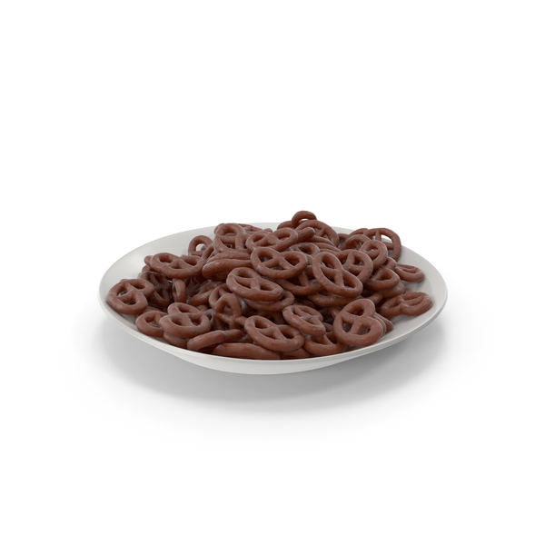 Plate with Chocolate Covered Pretzels PNG & PSD Images