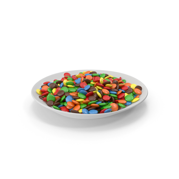 Plate with Colored Chocolate Buttons PNG & PSD Images