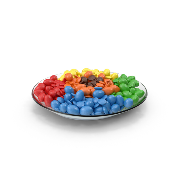 Plate with Mixed Color Coated Chocolate Candy PNG & PSD Images