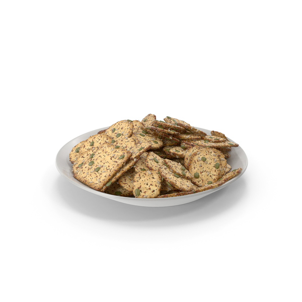 Plate with Mixed Crackers with Healthy Seeds PNG & PSD Images