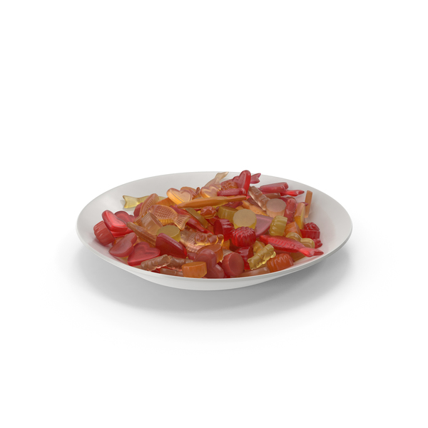 Bear: Plate with Mixed Gummy Candy PNG & PSD Images