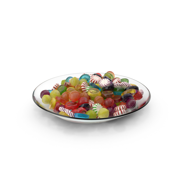 Plate with Mixed Hard Candy PNG & PSD Images