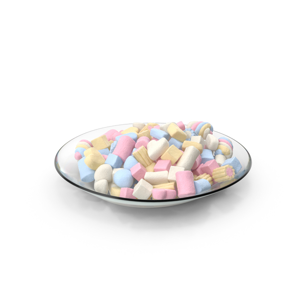Plate with Mixed Marshmallows PNG & PSD Images