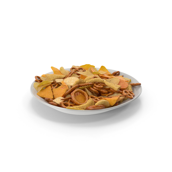 Plate With Mixed Salty Snacks PNG & PSD Images