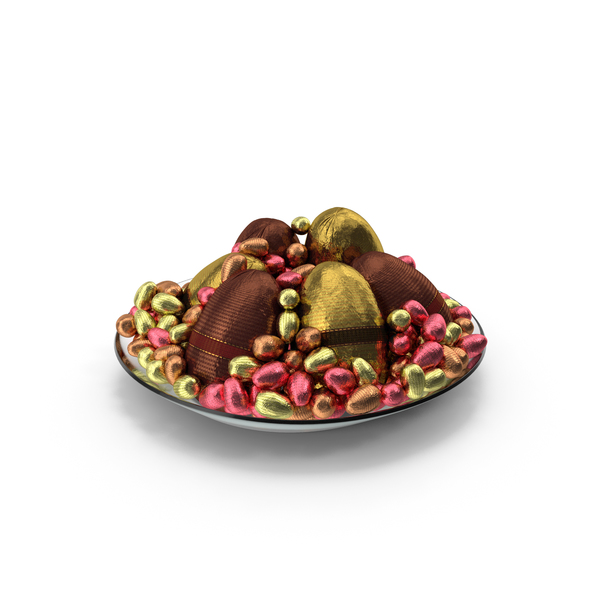 Plate with Mixed Wrapped Chocolate Easter Eggs PNG & PSD Images