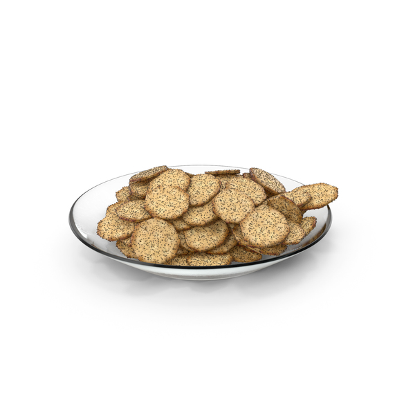 Plate with Octagon Crackers with Poppy Seeds PNG & PSD Images