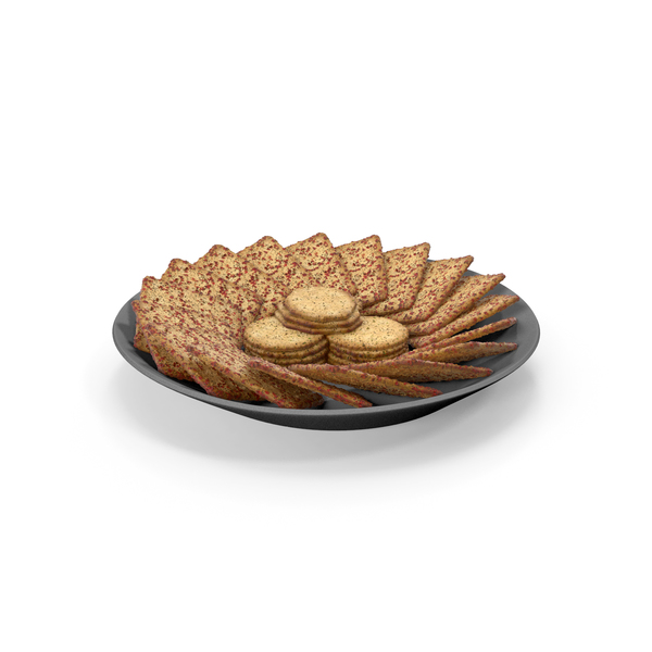 Plate with Organised Square Crackers with Seasoning PNG & PSD Images