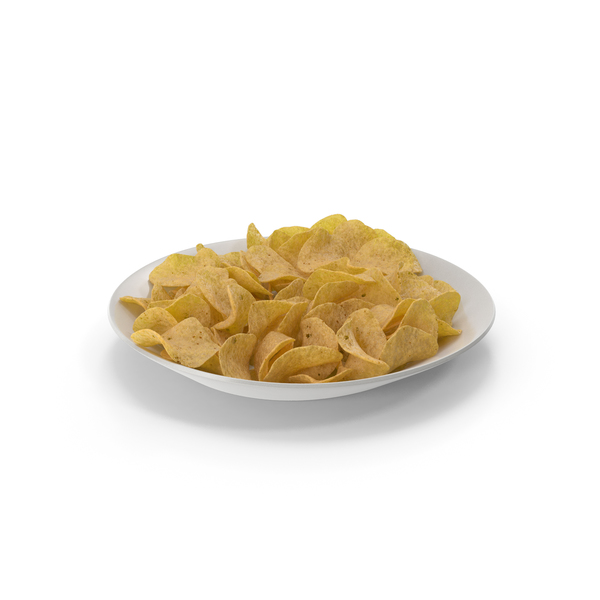 Plate with Potato Chips PNG & PSD Images
