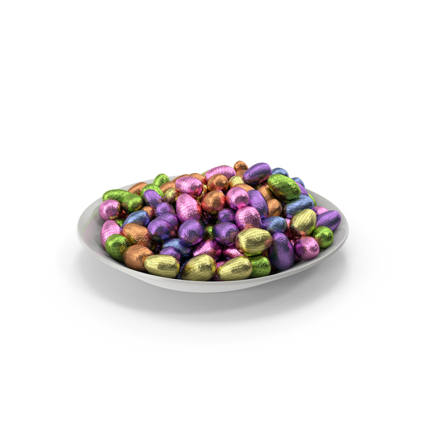 Plate with Small Wrapped Chocolate Easter Eggs PNG & PSD Images