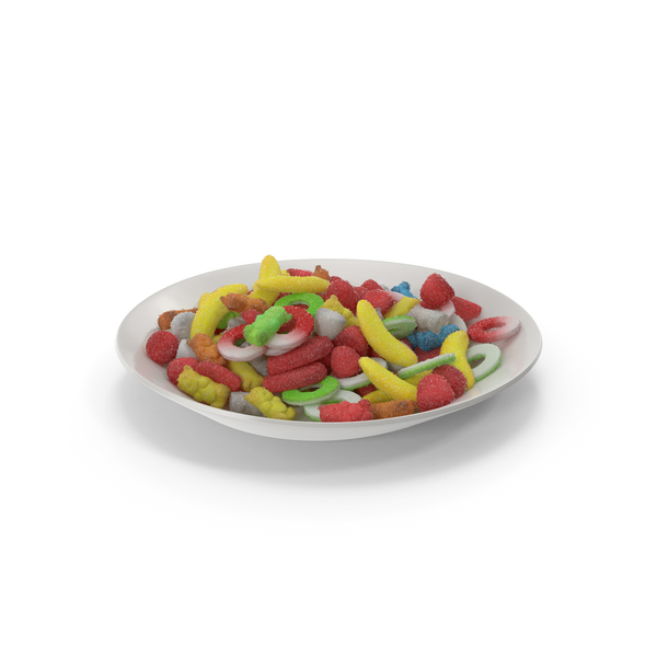 Industrial Equipment: Plate With Sugar Coated Gummy Candy PNG & PSD Images