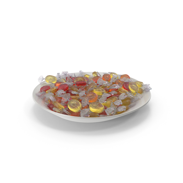 Plate with Wrapped Oval Candy PNG & PSD Images