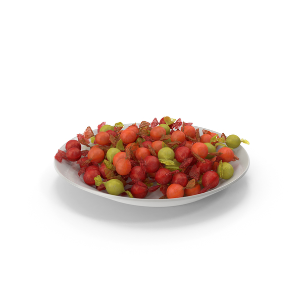 Plate with Wrapped Spherical Candy PNG & PSD Images
