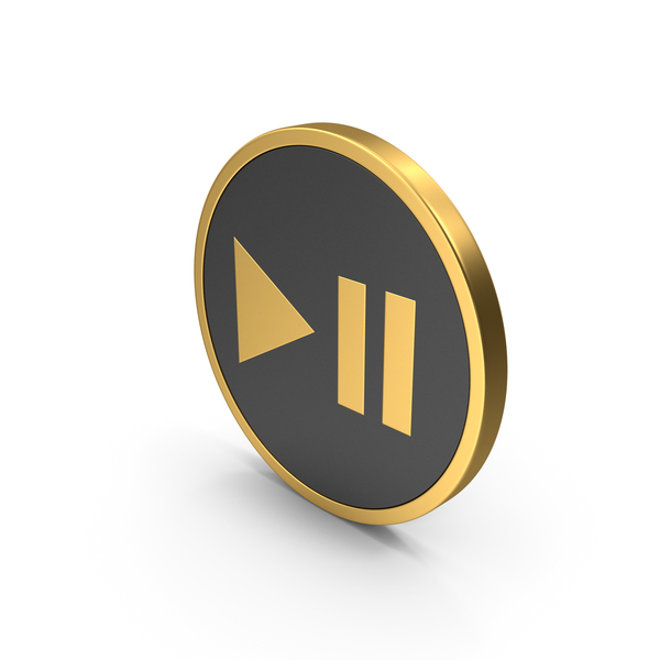 Symbol: Play Pause Button Gold Icon PNG & PSD Images