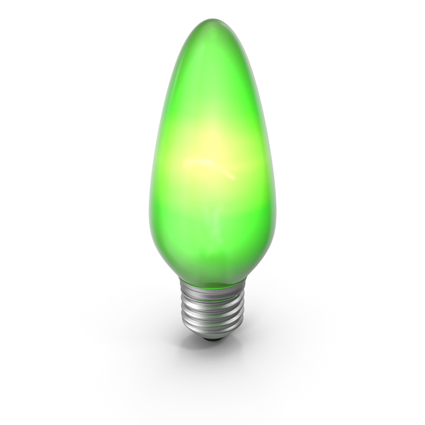 Pointy Lightbulb Green Turned On PNG & PSD Images