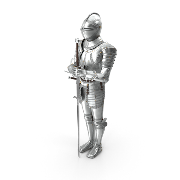Polished Knight Plate Armour Standing with Zweihander PNG & PSD Images