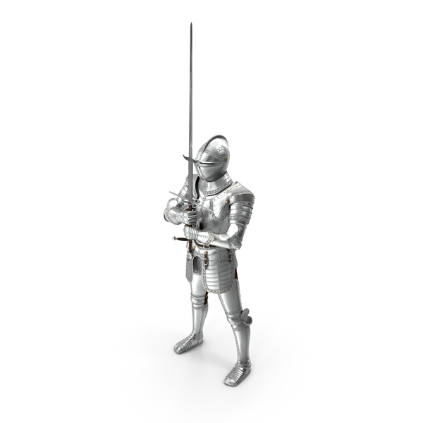 Polished Medieval Knight Plate Armor holding Zweihander PNG & PSD Images