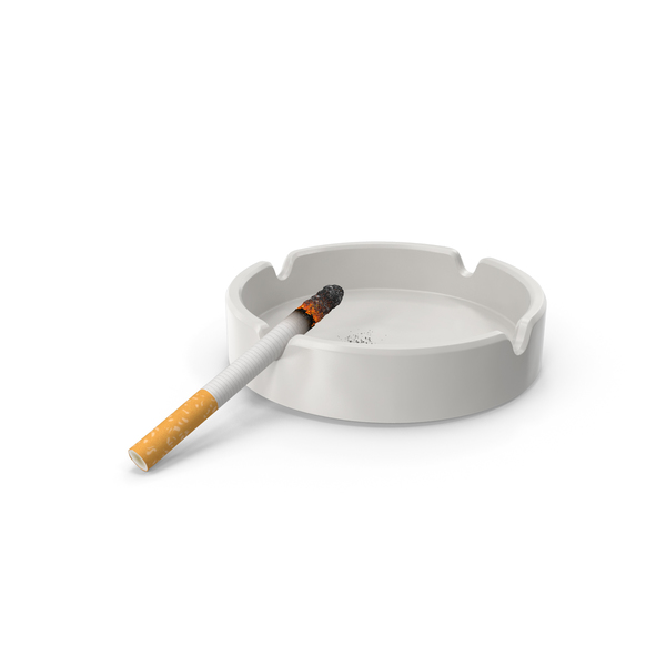 Porcelain Ashtray with Burning Cigarette PNG & PSD Images