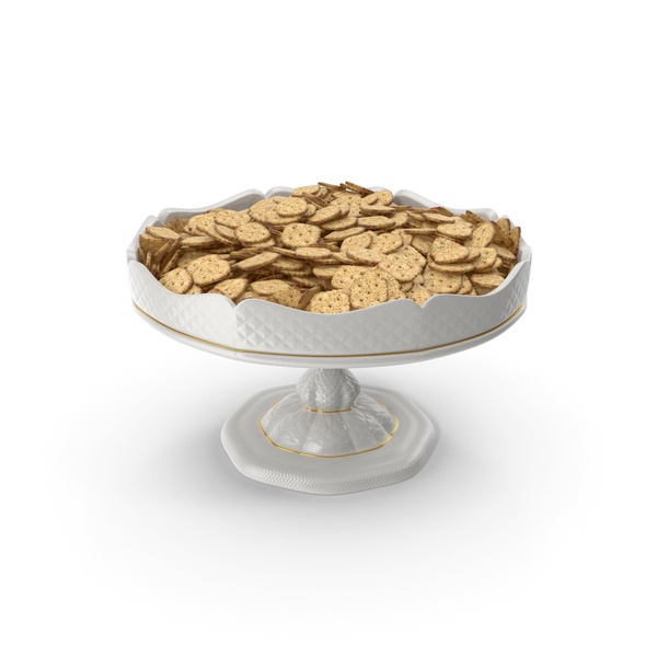 Porcelain Bowl with Mini Crackers PNG & PSD Images
