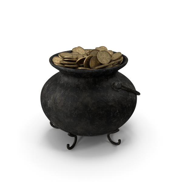 Pot Old Metall With Coins PNG & PSD Images