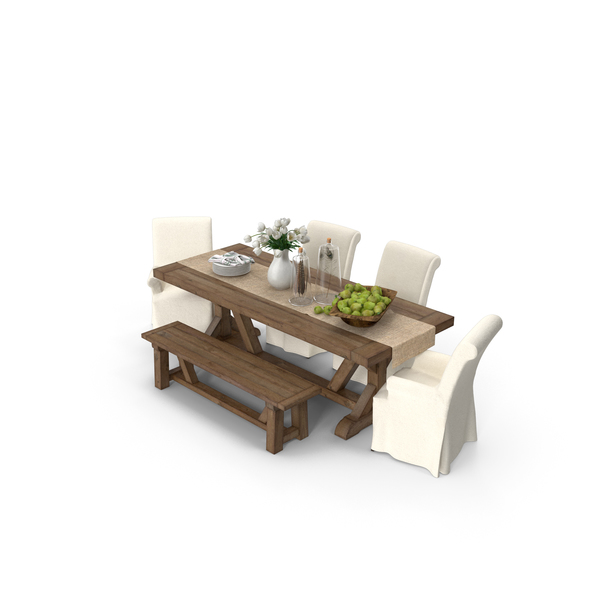 Pottery Barn Dining Table Set PNG & PSD Images