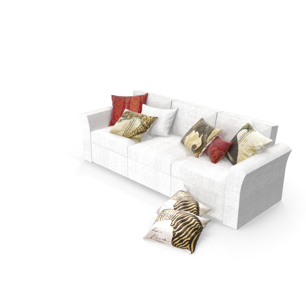 Pottery Barn Sofa with Pillows PNG & PSD Images