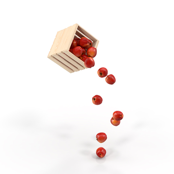 Apple: Pouring Apples out of a Wooden Crate Object