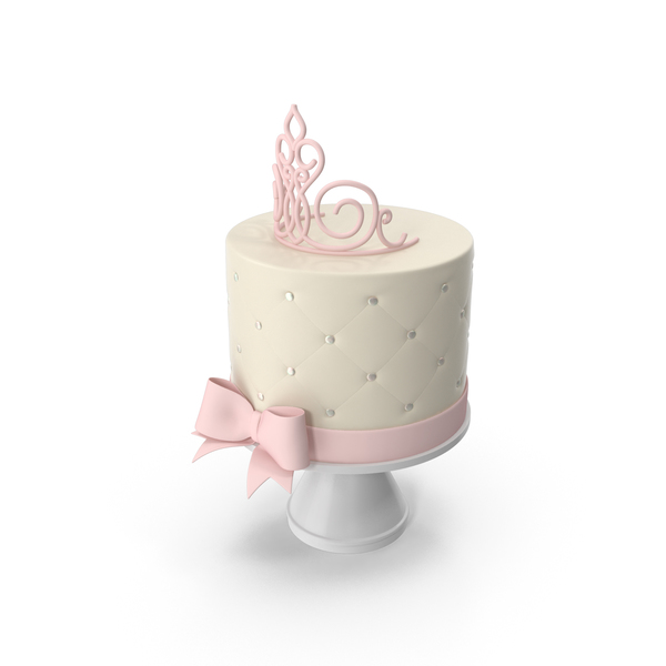 Princess Baby Shower Cake with Pink Crown and Bow PNG & PSD Images