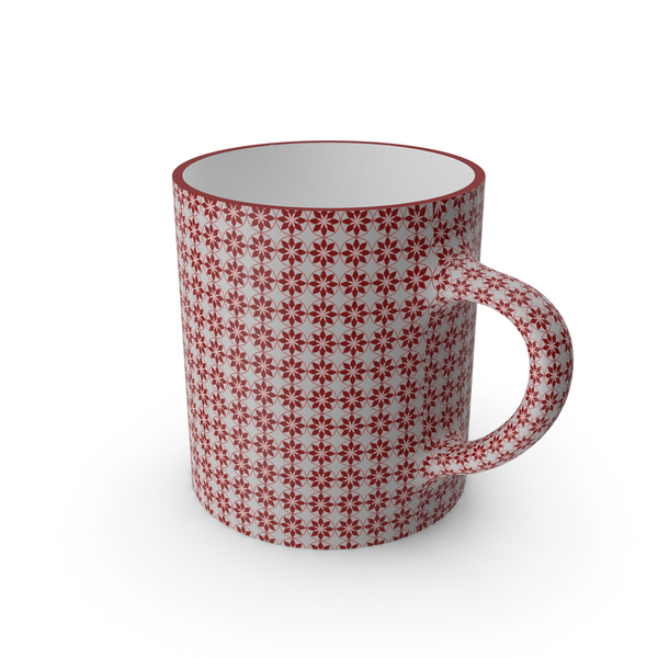 Coffee: Printed Maroon Flower Cup PNG & PSD Images