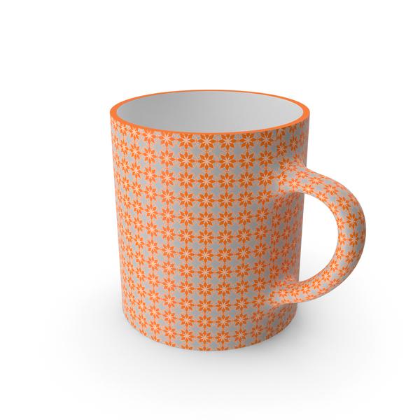Coffee: Printed Orange Flower Cup PNG & PSD Images