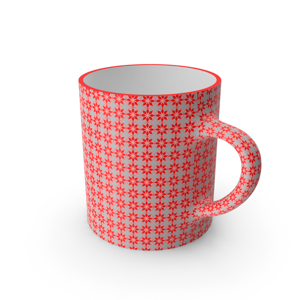 Coffee: Printed Red Flower Cup PNG & PSD Images