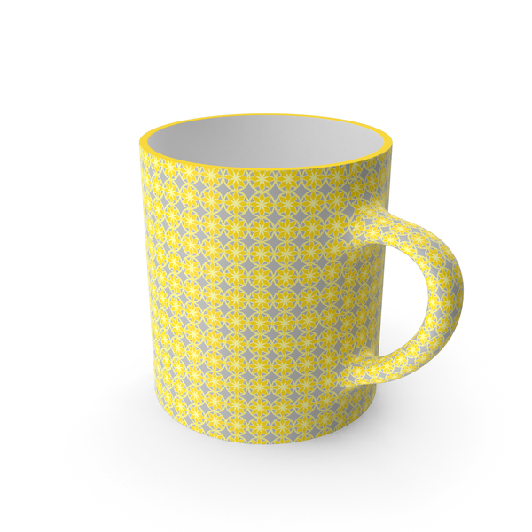 Coffee: Printed Yellow Flower Cup PNG & PSD Images