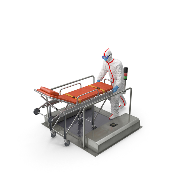Protective Suit with Hospital Bed Gurney on Automatic Sole Cleaner PNG & PSD Images