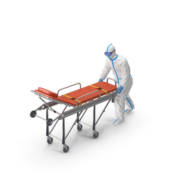 Protective Suit with Stainless Steel Ambulance Hospital Bed Gurney PNG & PSD Images