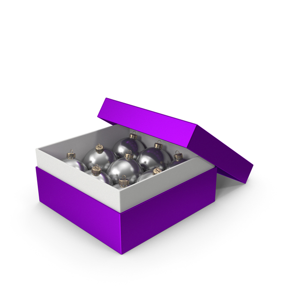 Christmas Ball: Purple Box With Ornaments PNG & PSD Images