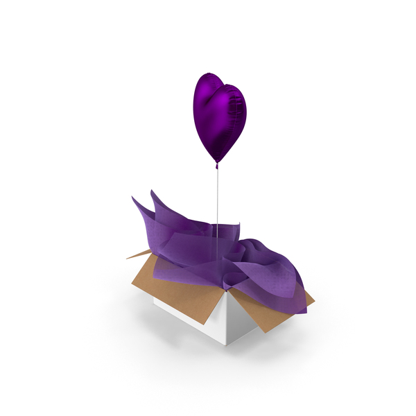 Purple Heart Balloon Surprise Box PNG & PSD Images