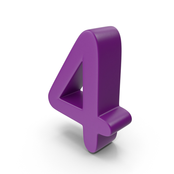 Purple Number 4 PNG & PSD Images