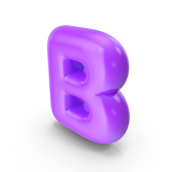 Language: Purple Toon Balloon Letter B PNG & PSD Images