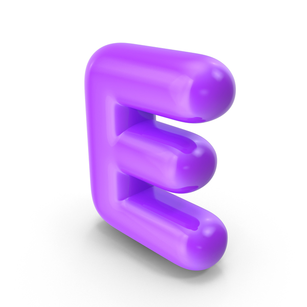 Language: Purple Toon Balloon Letter E PNG & PSD Images
