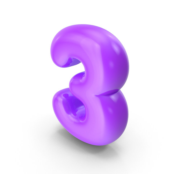 Purple Toon Balloon Number 3 PNG & PSD Images