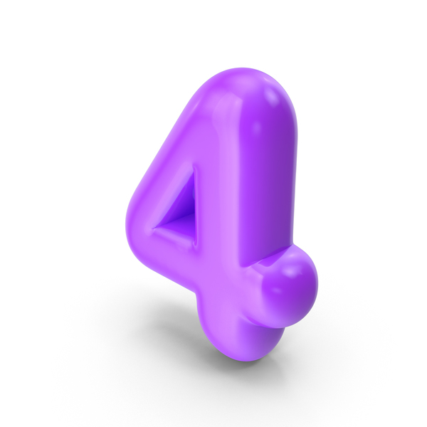 Purple Toon Balloon Number 4 PNG & PSD Images