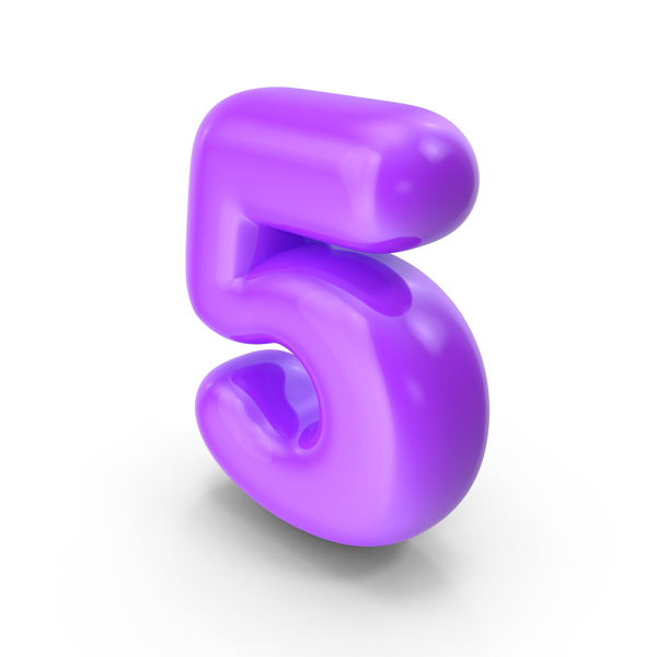 Purple Toon Balloon Number 5 PNG & PSD Images