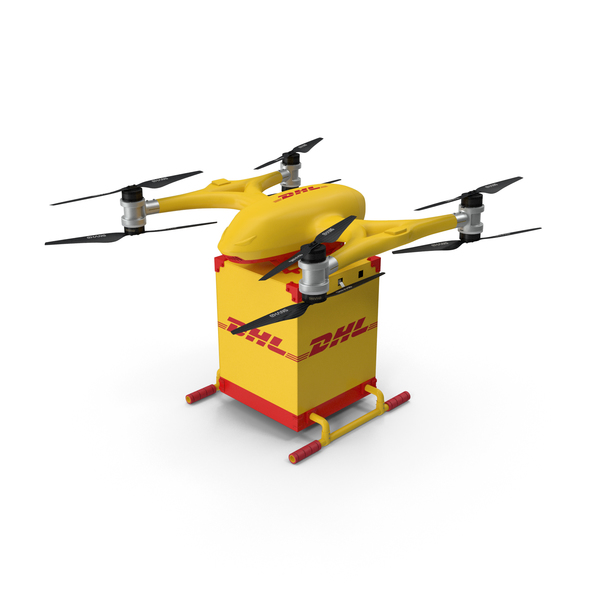 Quadcopter DHL Drone with Delivery Package PNG & PSD Images