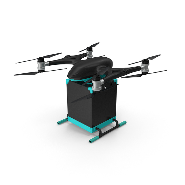 Quadcopter Drone with Delivery Package PNG & PSD Images