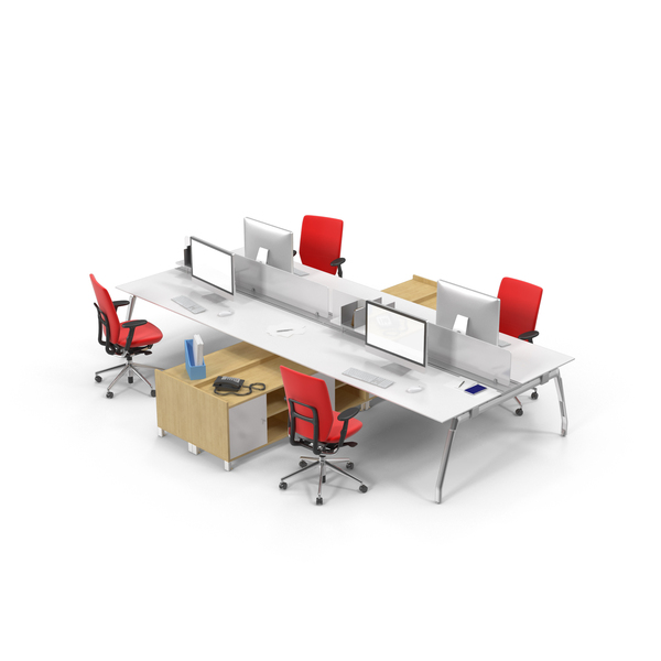 Workstation: Quadruple Desk Set PNG & PSD Images