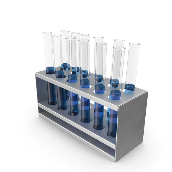 Rack with Blue Test Tubes PNG & PSD Images