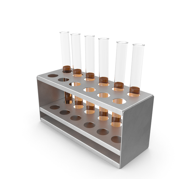 Rack with Half Yellow Test Tubes PNG & PSD Images