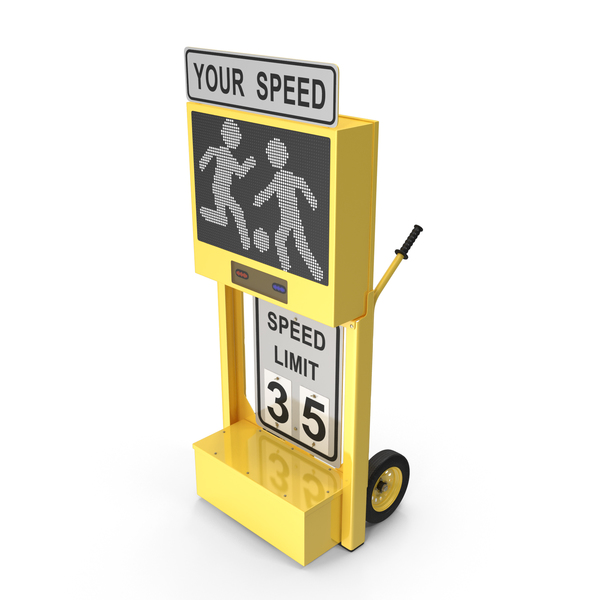 Electronic Traffic: Radar Speed Sign Dolly with Matrix Messaging Display PNG & PSD Images